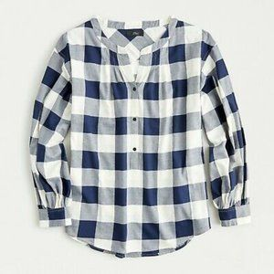 J. Crew Open V-neck shirt in buffalo check flannel